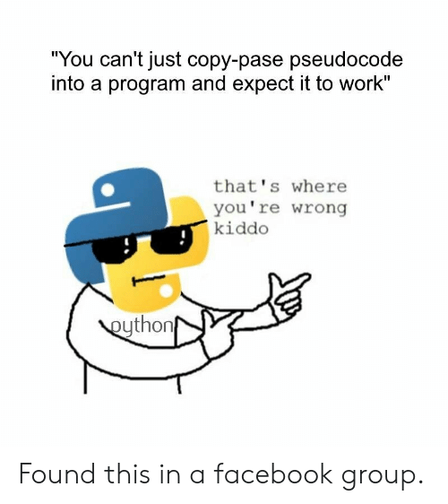 "youre wrong: ""You can't just copy-pase pseudocode  into a program and expect it to work""  that's where  you're wrong  kiddo  eython Found this in a facebook group."