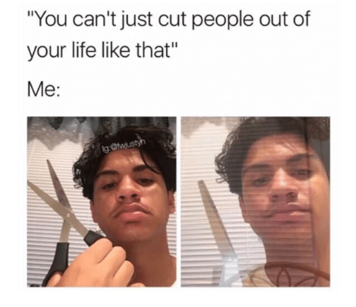 You Cant Just Cut People Out Of Your Life Like That Me Life Meme