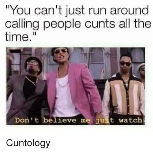 "Dont Believe Me Just Watch: ""You can't just run around  calling people cunts all the  time.""  Don't believe me just watch Cuntology"