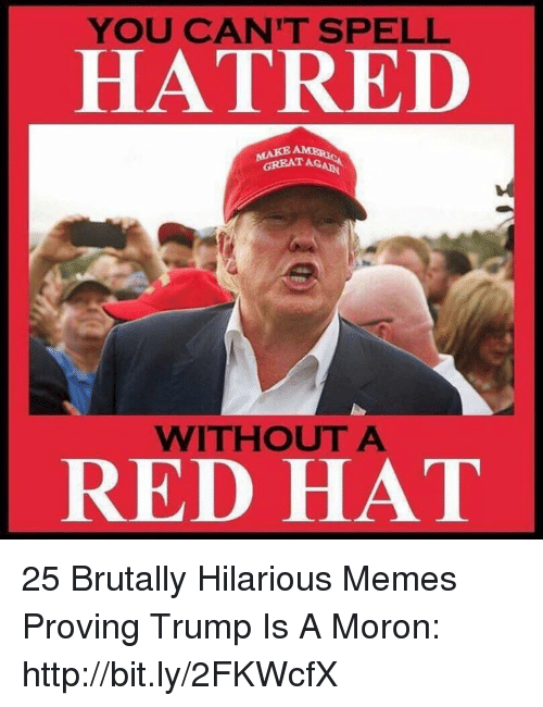 aga: YOU CAN'T SPELL  HATRED  GREAT AGA  WITHOUT A  RED HAT 25 Brutally Hilarious Memes Proving Trump Is A Moron: http://bit.ly/2FKWcfX