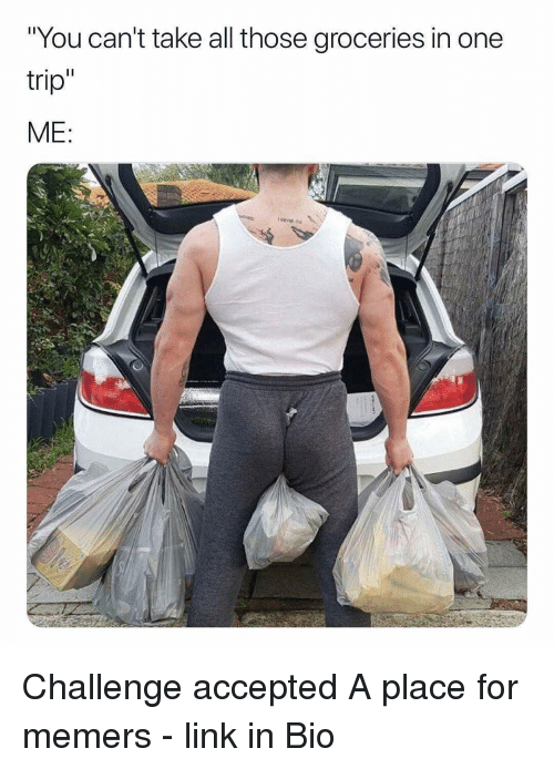 """Memes, Link, and Accepted: """"You can't take all those groceries in one  trip  ME Challenge accepted A place for memers - link in Bio"""
