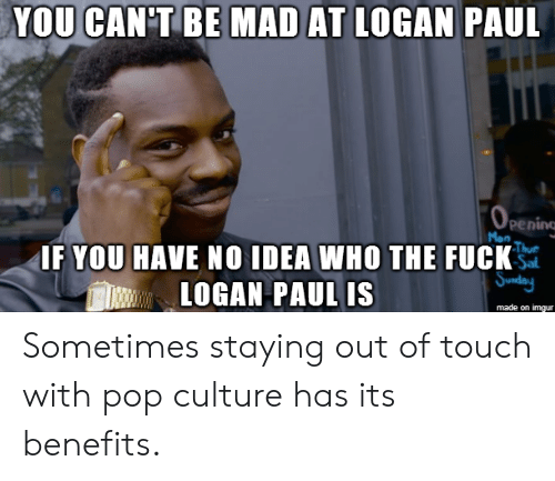 pop culture: YOU CAN'TBE MAD AT  LOGAN PAUL  pening  IF YOU HAVE NO IDEA WHO THE FUCK  LOGAN PAUL IS  made on imgur Sometimes staying out of touch with pop culture has its benefits.