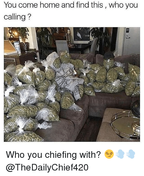 Chiefing: You come home and find this , who you  calling?  :9 Who you chiefing with? 😏💨💨 @TheDailyChief420