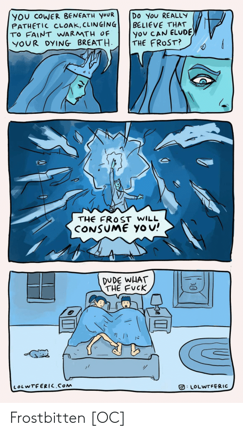 warmth: YOU COWER BENEATH YOUR  PATHETIC CLOAK, CLINGING  TO FAINT WARMTH OF  YOUR DYING BREATH  Do You REALLY  BELIEVE THAT  you CAN ELUDE  THE FROST?  THE FROST WILL  CONSUME Yo u!  DUDE WHAT  THE FUCK  LOLWTFERIC.COM  LOLWTFERIC  D0 Frostbitten [OC]