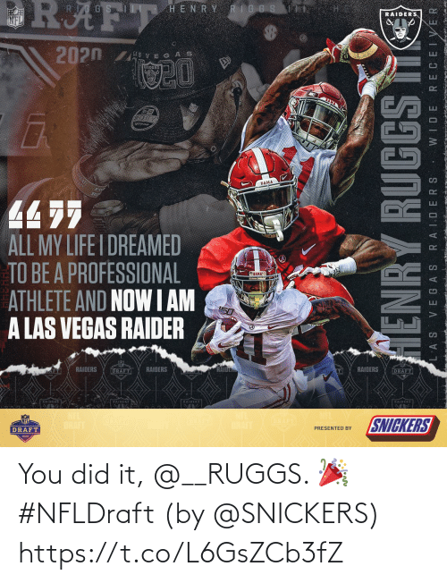 snickers: You did it, @__RUGGS. 🎉 #NFLDraft  (by @SNICKERS) https://t.co/L6GsZCb3fZ