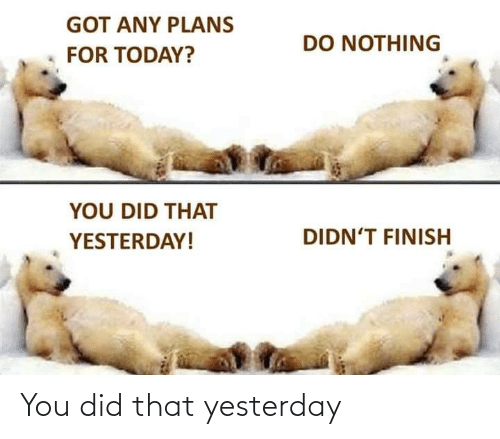 yesterday: You did that yesterday