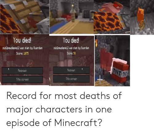 Minecraft, Guardian, and Record: You died!  You died!  sub&pewdiepie12 was slain by Guardian  subdpeudiepie12 was slain by Guardian  Score: 58  Score: 1075  TNT INN  Respaun  Respaun  Title screen  Title screen Record for most deaths of major characters in one episode of Minecraft?
