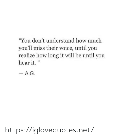 "Voice, How, and Net: ""You don't understand how much  you'll miss their voice, until you  realize how long it will be until you  hear it."" https://iglovequotes.net/"