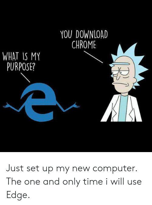 Downloading: YOU DOWNLOAD  CHROME  WHAT IS MY  PURPOSE? Just set up my new computer. The one and only time i will use Edge.