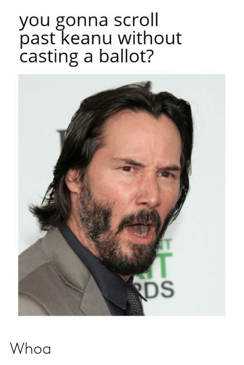 Cts, You, and Rds: you gonna scroll  past keanu without  casting a ballot?  T  RDS  CTS Whoa