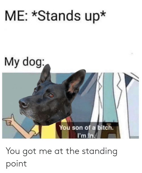 You Got: You got me at the standing point