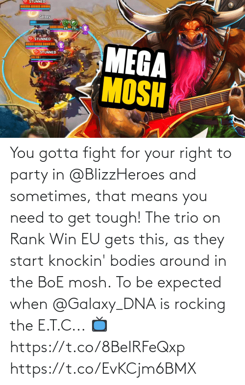Party: You gotta fight for your right to party in @BlizzHeroes and sometimes, that means you need to get tough!  The trio on Rank Win EU gets this, as they start knockin' bodies around in the BoE mosh.  To be expected when @Galaxy_DNA is rocking the E.T.C...  📺https://t.co/8BeIRFeQxp https://t.co/EvKCjm6BMX
