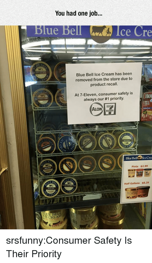 cre: You had one job...  Blue Bell  Ice Cre  Blue Bell Ice Cream has been  removed from the store due to  product recall.  At 7-Eleven, consumer safety is  always our #1 priority.  Hor  Bloe BellIce Cre  Pints $2.99  Half Gallons $8.29  RE  BEL srsfunny:Consumer Safety Is Their Priority