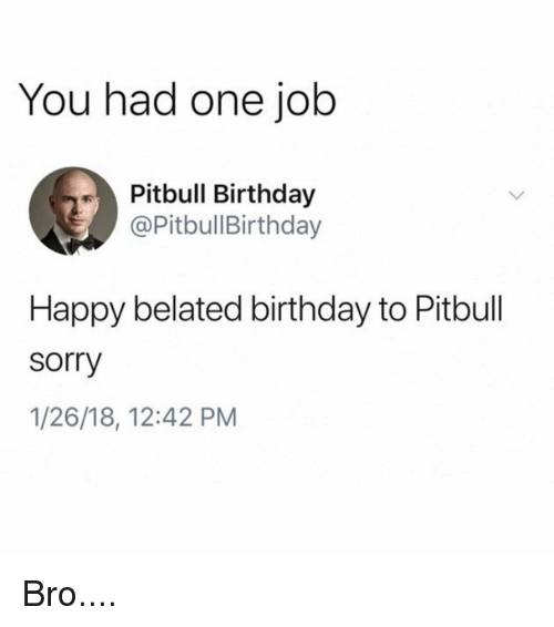 Birthday, Memes, and Sorry: You had one job  Pitbull Birthday  @PitbullBirthday  Happy belated birthday to Pitbull  sorry  1/26/18, 12:42 PM Bro....