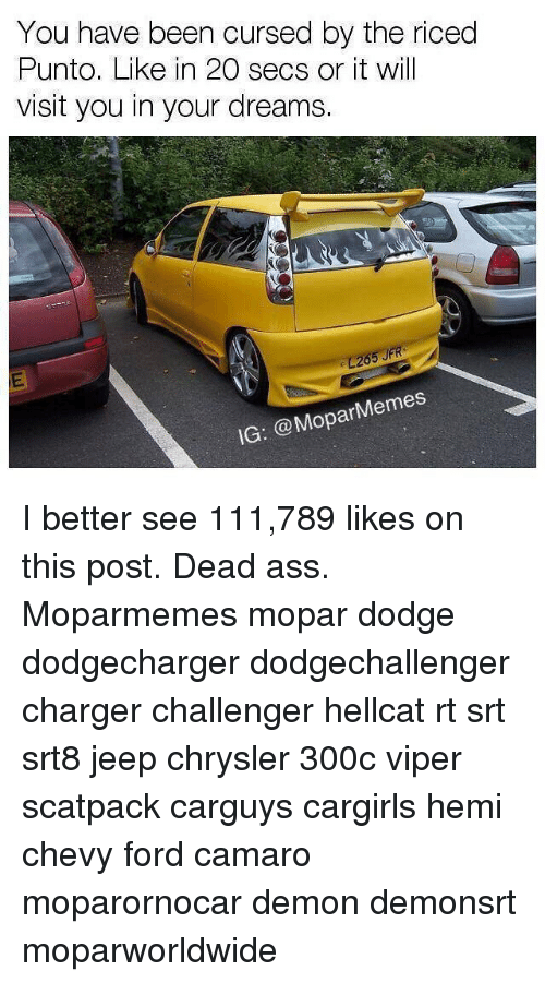 viper: You have been cursed by the riced  Punto. Like in 20 secs or it will  visit you in your dreams.  26  IG: @MoparMemes I better see 111,789 likes on this post. Dead ass. Moparmemes mopar dodge dodgecharger dodgechallenger charger challenger hellcat rt srt srt8 jeep chrysler 300c viper scatpack carguys cargirls hemi chevy ford camaro moparornocar demon demonsrt moparworldwide