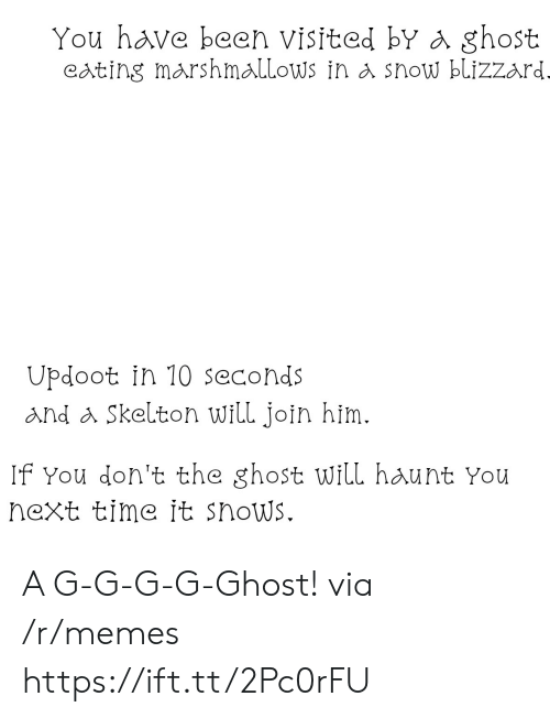 G G: You have been visited bY a ghost  eating marshmallows in a show blizzard  Updoot in 10 seconds  and a Skelton will join him.  If You don't the ghost will haunt You  next time it snows. A G-G-G-G-Ghost! via /r/memes https://ift.tt/2Pc0rFU