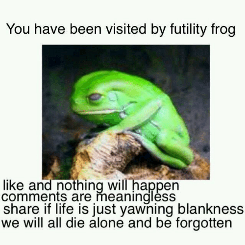 Futility Frog: You have been visited by futility frog  like and nothing will happen  comments are meanindlèss  share if life is just yawning blankness  we will all die alone and be forgotten