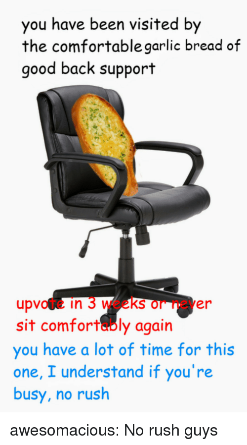 Comfortable, Tumblr, and Blog: you have been visited by  the comfortable garlic bread of  good back support  upvote in 3 weeks or never  sit comfortably again  you have a lot of time for this  one, I understand if you're  busy, no rush awesomacious:  No rush guys