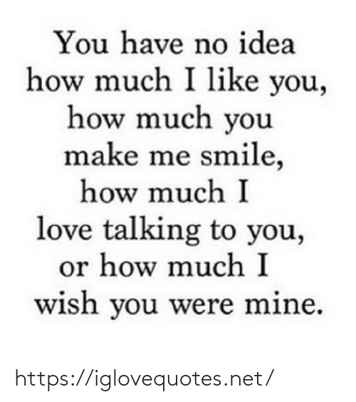 You Have No: You have no idea  how much I like you,  how much you  make me smile,  how much I  love talking to you,  or how much I  wish you were mine. https://iglovequotes.net/