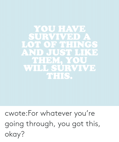 You Got: YOU HAVE  SURVIVED A  LOT oF THINGS  AND JUST LIKE  THEM. YoU  WILL SURVIVE  THIS. cwote:For whatever you're going through, you got this, okay?