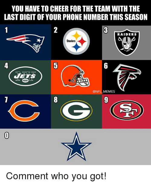 Memes, Nfl, and Phone: YOU HAVE TO CHEER FOR THE TEAM WITH THE  LAST DIGIT OF YOUR PHONE NUMBER THIS SEASON  RAIDERS  Steelers  VETS  @NFL MEMES Comment who you got!