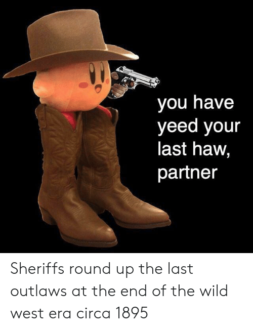 Wild, Era, and Wild West: you have  yeed your  last haw,  partner Sheriffs round up the last outlaws at the end of the wild west era circa 1895