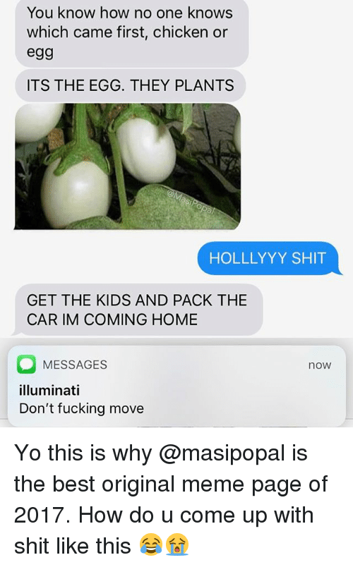 Im Coming Home: You know how no one knows  which came first, chicken or  egg  ITS THE EGG. THEY PLANTS  HOLLLYYY SHIT  GET THE KIDS AND PACK THE  CAR IM COMING HOME  MESSAGES  illuminati  Don't fucking move  now Yo this is why @masipopal is the best original meme page of 2017. How do u come up with shit like this 😂😭