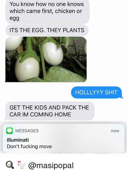 Im Coming Home: You know how no one knows  which came first, chicken or  egg  ITS THE EGG. THEY PLANTS  HOLLLYYY SHIT  GET THE KIDS AND PACK THE  CAR IM COMING HOME  MESSAGES  illuminati  Don't fucking move  now 🍳 🐓 @masipopal