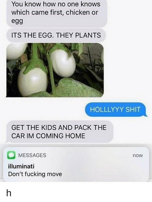 Im Coming Home: You know how no one knows  which came first, chicken or  egg  ITS THE EGG. THEY PLANTS  HOLLLYYY SHIT  GET THE KIDS AND PACK THE  CAR IM COMING HOME  MESSAGES  illuminati  Don't fucking move  now h