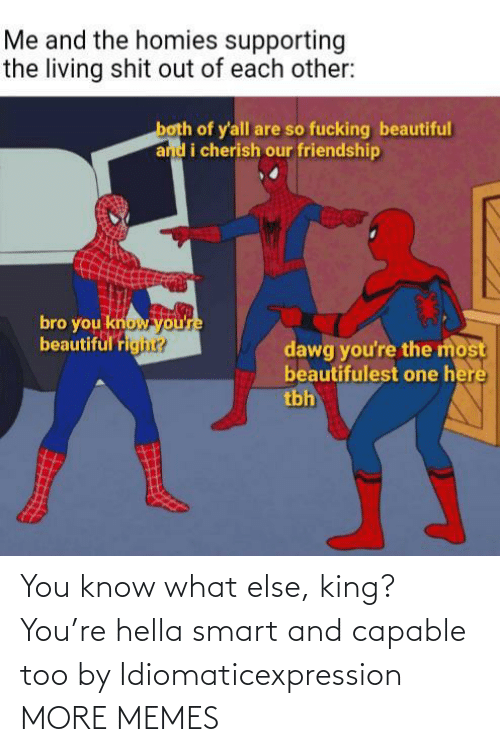 smart: You know what else, king? You're hella smart and capable too by Idiomaticexpression MORE MEMES