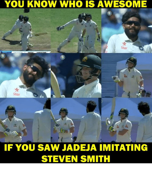 Awesomness: YOU KNOW WHO IS AWESOME  Star  Star  IF YOU SAW JADEJA IMITATING  STEVEN SMITH