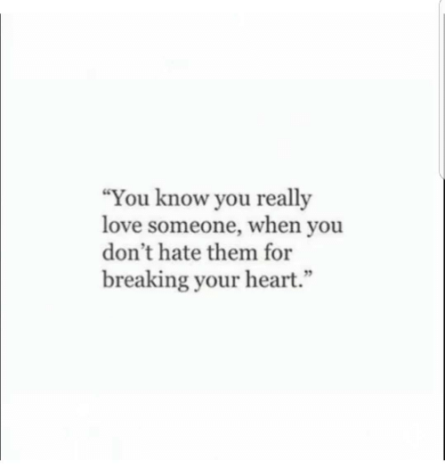 """Dont Hate: """"You know you really  love someone, when you  don't hate them for  breaking your heart.""""  95"""