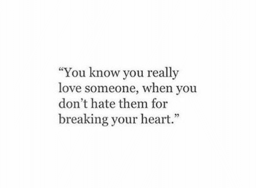 """Dont Hate: """"You know you really  love someone, when you  don't hate them for  breaking your heart."""""""