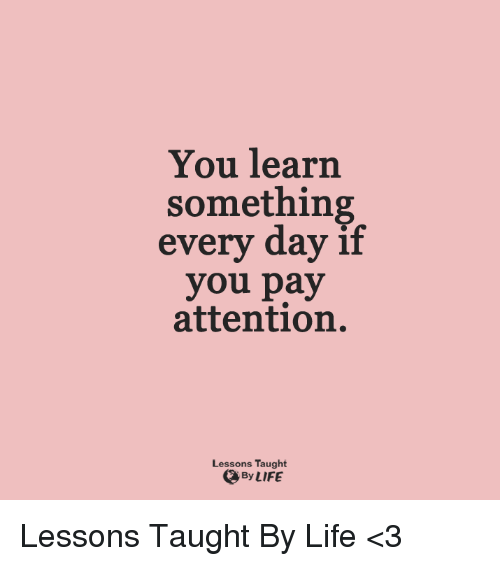 Payed Attention: You learn  something  every day if  you pay  attention.  Lessons Taught  By LIFE Lessons Taught By Life <3