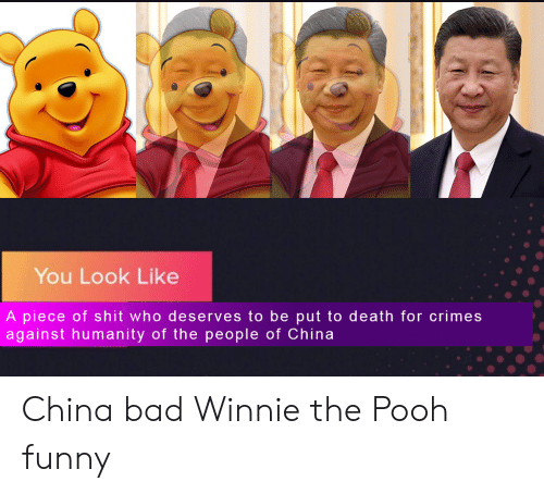 Bad, Funny, and Shit: You Look Like  A piece of shit who deserves to be put to death for crimes  against humanity of the people of China China bad Winnie the Pooh funny