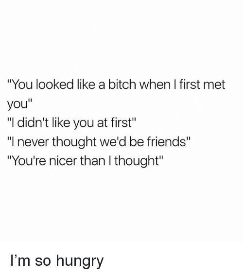 """So Hungry: """"You looked like a bitch when I first met  you""""  """"I didn't like you at first""""  I never thought we'd be friends""""  """"You're nicer than I thought"""" I'm so hungry"""