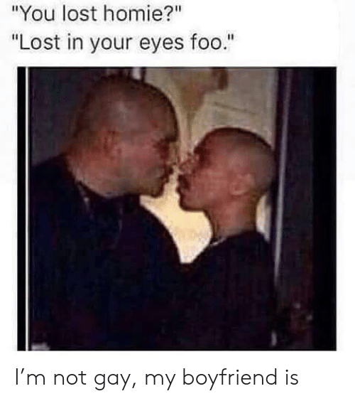 "Not Gay: ""You lost homie?""  ""Lost in your eyes foo."" I'm not gay, my boyfriend is"