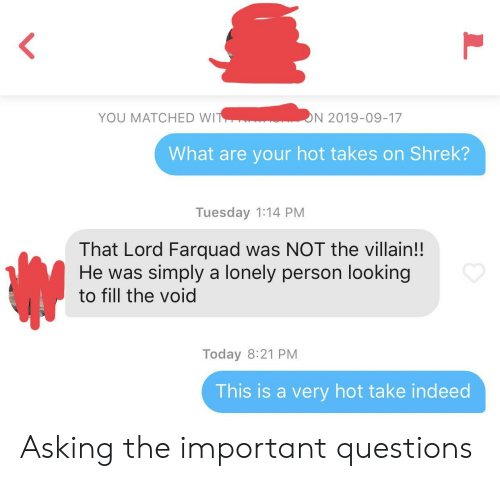 Shrek, Indeed, and Today: YOU MATCHED WIT  ON 2019-09-17  What are your hot takes on Shrek?  Tuesday 1:14 PM  That Lord Farquad was NOT the villain!!  He was simply a lonely person looking  to fill the void  Today 8:21 PM  This is a very hot take indeed  L Asking the important questions