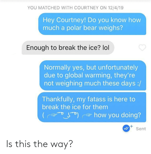 unfortunately: YOU MATCHED WITH COURTNEY ON 12/4/19  Hey Courtney! Do you know how  much a polar bear weighs?  Enough to break the ice? lol  Normally yes, but unfortunately  due to global warming, they're  not weighing much these days :/  Thankfully, my fatass is here to  break the ice for them  e how you doing?  +.  Sent Is this the way?