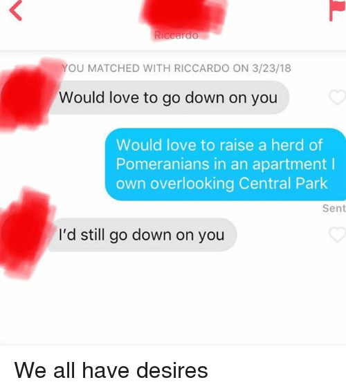 central park: YOU MATCHED WITH RICCARDO ON 3/23/18  Would love to go down on you  Would love to raise a herd of  Pomeranians in an apartment I  own overlooking Central Park  Sent  I'd still go down on you We all have desires