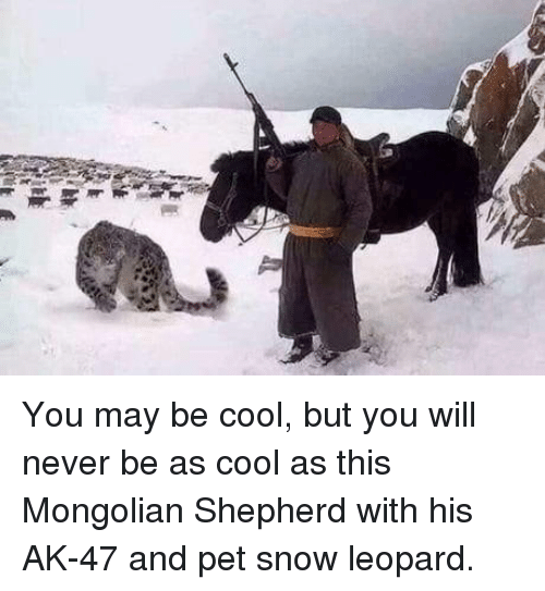 Ak-47: You may be cool, but you will never be as cool as this Mongolian Shepherd with his AK-47 and pet snow leopard.