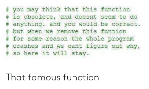 Reason, May, and Why:  # you may think that this function  # is obsolete, and doesnt seem to do  # anything. and you would be correct.  # but when we remove this funtion  # for some reason the whole program  # crashes and we cant figure out why,  # so here it will stay That famous function
