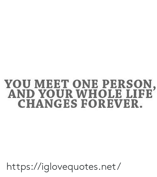 Life, Forever, and Net: YOU MEET ONE PERSON  AND YOUR WHOLE LIFE  CHANGES FOREVER. https://iglovequotes.net/