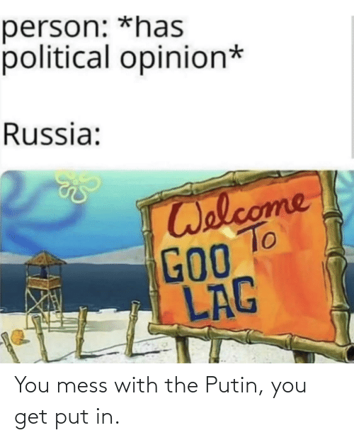 You Get: You mess with the Putin, you get put in.