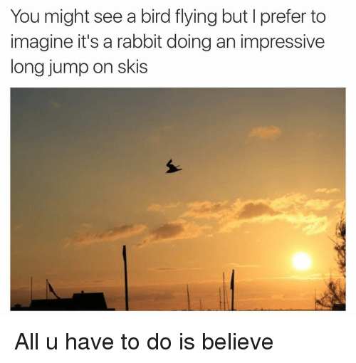 birds flying: You might see a bird flying but l prefer to  imagine it's a rabbit doing an impressive  long jump on skis All u have to do is believe