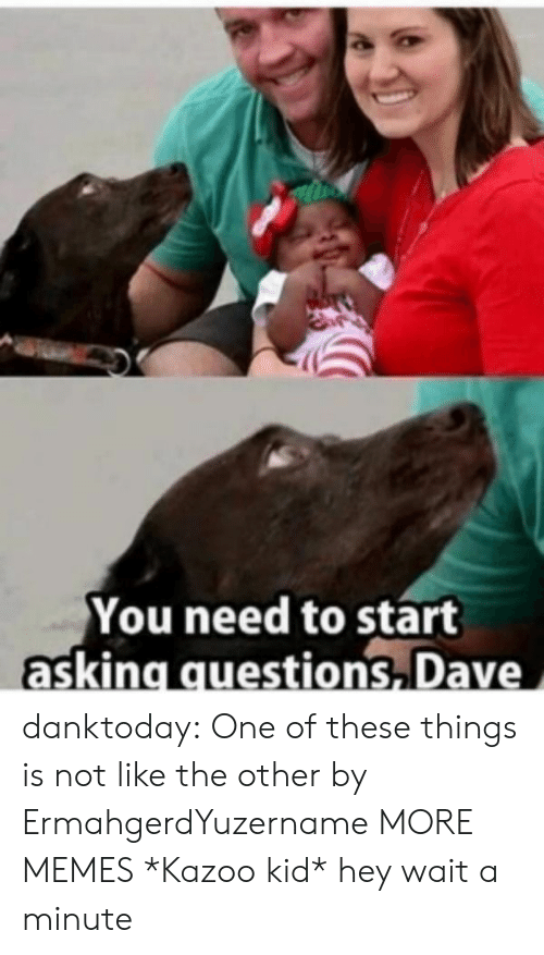Dank, Memes, and Tumblr: You need to start  asking questions Dave danktoday:  One of these things is not like the other by ErmahgerdYuzername MORE MEMES  *Kazoo kid* hey wait a minute