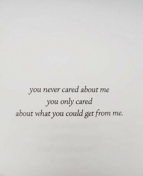 Never, You, and What: you never cared about me  you only cared  about what you could get from  те.