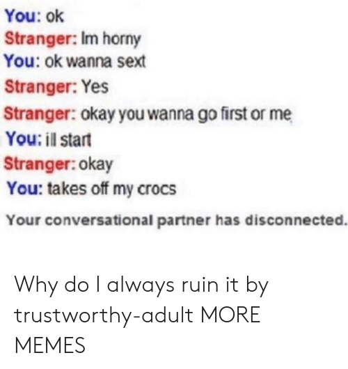 Crocs, Dank, and Horny: You: ok  Stranger: Im horny  You: ok wanna sext  Stranger: Yes  Stranger: okay you wanna go first or me  You: il start  Stranger:okay  You: takes off my crocs  Your conversational partner has disconnected. Why do I always ruin it by trustworthy-adult MORE MEMES