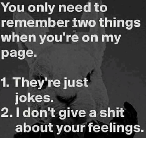 Memes, Shit, and Jokes: You only need to  remember two things  when you're on my  page.  1. They're just  jokes.  2. I don't give a shit  about your feelings.