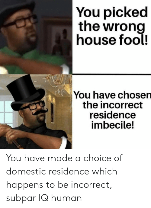 House, Human, and Chosen: You picked  the wrong  house fool!  You have chosen  the incorrect  residence  imbecile! You have made a choice of domestic residence which happens to be incorrect, subpar IQ human
